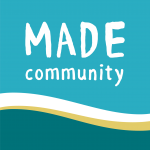 Logo for MADE Community in blue and turquoise
