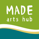 Logo for MADE Arts Hub in green and turquoise