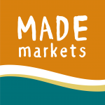 Logo for MADE markets in orange and turquoise