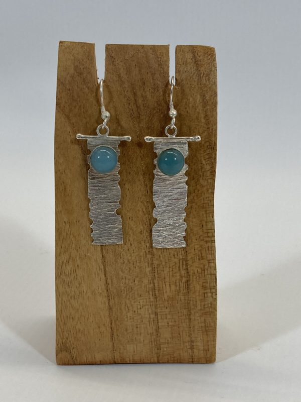 Silver Drop Earrings with Turquoise Stone - Rosie Devlin