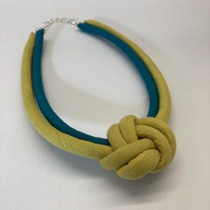 Fabric Necklace - Citron/Turquoise - Julia Maguire