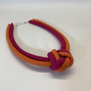 Fabric Necklace - Fuschia/Orange - Julia Maguire