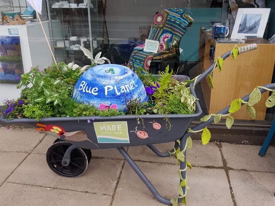 Planted wheelbarrow - Blooming Haddington